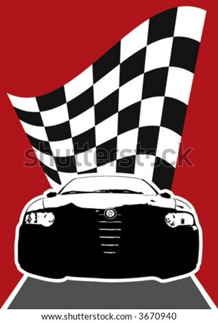 frontal view of a vector racer - stock vector