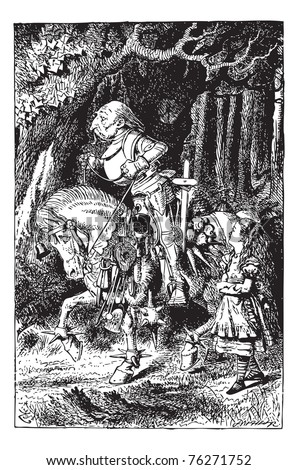 Frontispiece: Alice and the White Knight vintage engraving. It was a glorious victory, wasn't it?, said the White Knight, as he came up panting. Through the looking glass original book illustration - stock vector