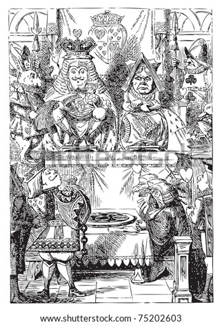 Frontispiece: The King and Queen inspecting the tarts. The plate of tarts is presented for the approval of the King and Queen of Hearts in their throne-room. Alice's Adventures in Wonderland. - stock vector