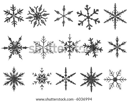 Frosted Snowflake Elements 1 of 4 (Snowflakes are grouped for easy coloring, and use with other vectors)