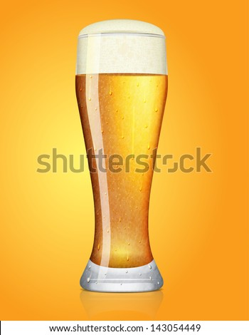 frosty glass of beer, vector illustration - stock vector