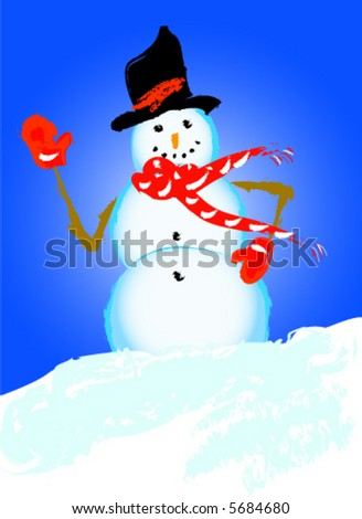 Frosty Snowman - stock vector