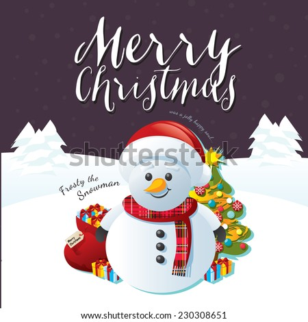 Frosty the Snowman on a Purple Snow Winter Wonderland Background with Santa's sack, a Christmas tree and Christmas presents. Merry Christmas text banner. - stock vector