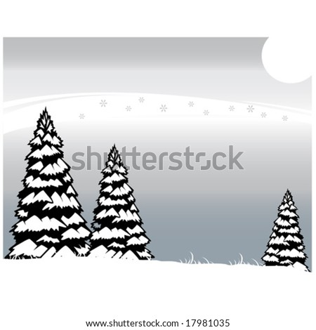 Frosty winter evening in forest - stock vector