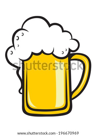 Frothy tankard of golden beer with a good head of froth overflowing the glass, isolated on white - stock vector