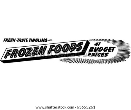 Frozen Foods - Ad Header - Retro Clipart - stock vector