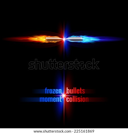 Frozen moment of two bullets collision in orange and blue flame - stock vector