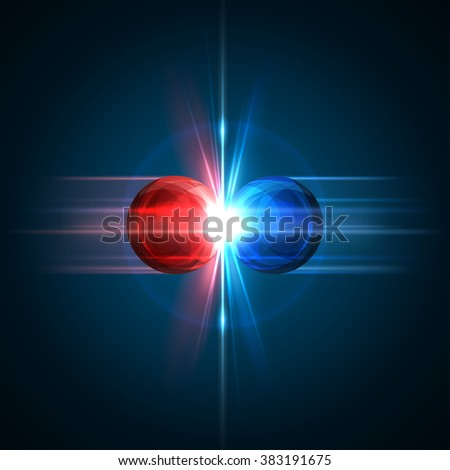 Frozen moment of two particles collision with red and blue light. Vector illustration. Explosion  concept. Abstract molecules impact on black background. Atomic Power. Nuclear reactions concept. - stock vector