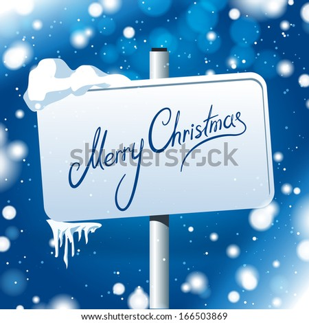 Frozen sign with Merry Christmas text - stock vector