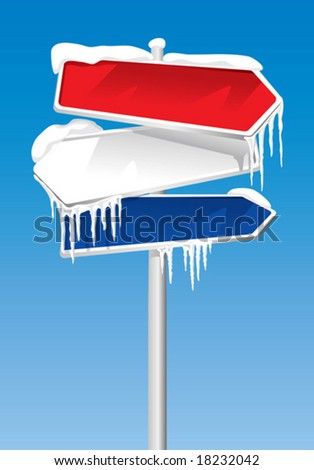 Frozen Signpost (vector). In the gallery also available XXL jpeg image made from this vector - stock vector