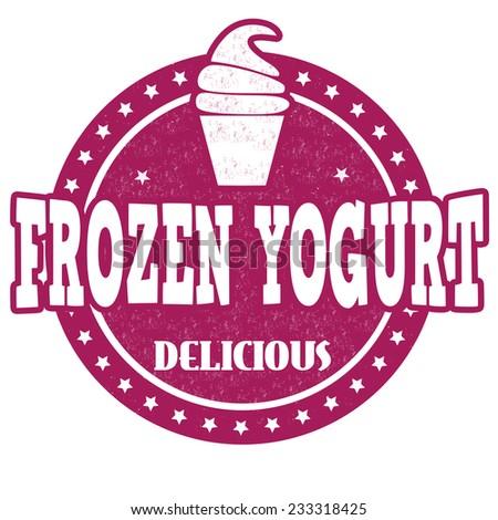 Frozen yogurt grunge rubber stamp on white background, vector illustration - stock vector