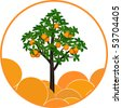 Fructifying orange tree on an abstract background - stock vector