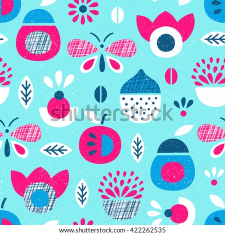 Fruit and butterfly seamless pattern. Vector illustration. Wrapping. Surface design. - stock vector