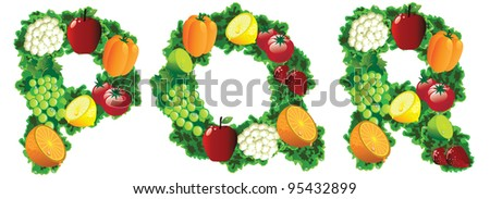 Fruit and vegetable alphabet letters icon symbol set EPS 8 vector, grouped for easy editing. No open shapes or paths. - stock vector