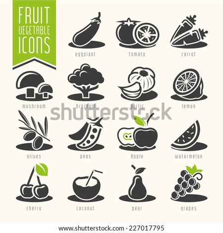 Fruit and Vegetable Icon Set - stock vector