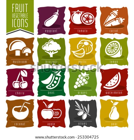 Fruit and Vegetable Icon Set - 2 - stock vector