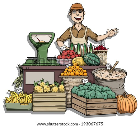 Fruit and vegetable stall, vector illustration - stock vector