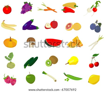 fruit and vegetable vector - stock vector