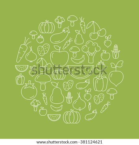 Fruit and vegetables background with icons - flat design. Healthy lifestyle. Eco, organic fruit and vegetables.