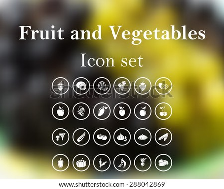 Fruit and vegetables. EPS 10 vector illustration with mesh and without transparency. - stock vector
