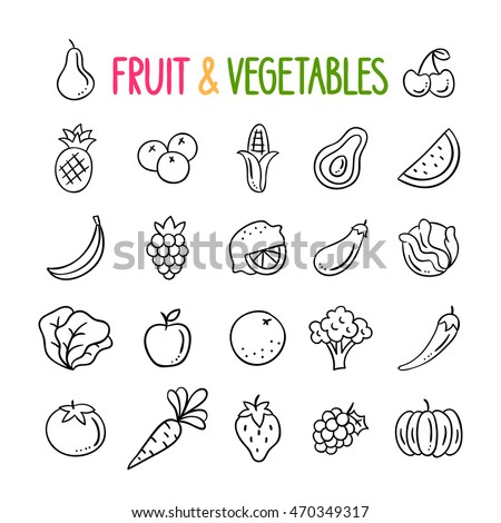 fruit and vegetables hand drawn vector set healthy eating doodles vegetarian food outline icons