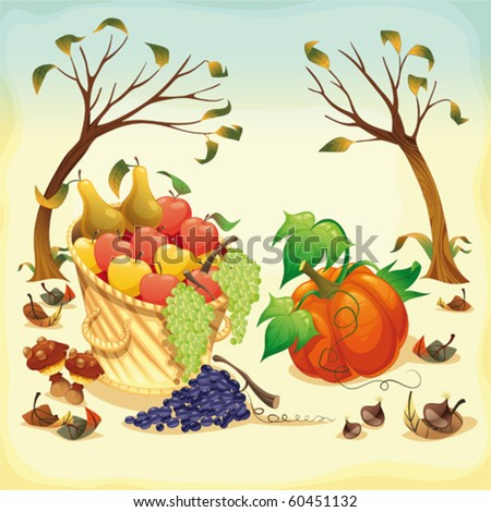 Fruit and vegetables in Autumn. Vector illustration, isolated objects.