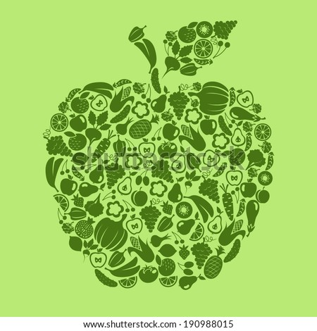 Fruit and vegetables in shape apple - stock vector