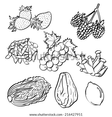 Fruit and Vegetables Set - stock vector