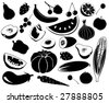 Fruit and vegetables. Vector silhouettes - stock vector