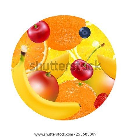 Fruit Ball With Gradient Mesh, Vector Illustration - stock vector