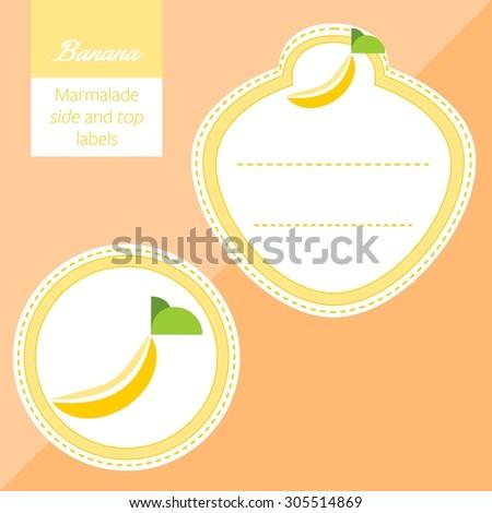 Fruit, banana label graphic - stock vector