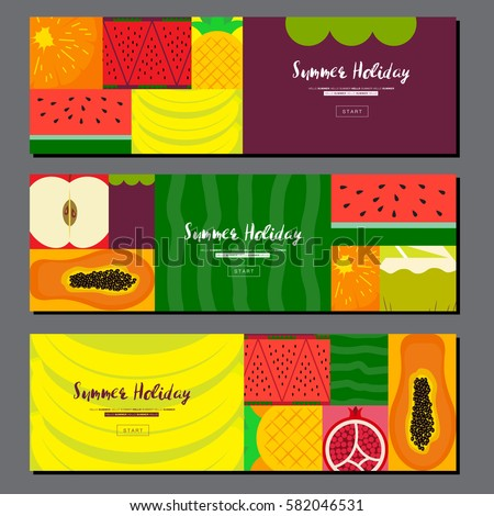 Fruit banner collection. Summer banner set. Flat design, Vector illustration
