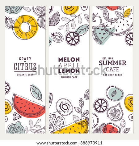 Fruit banner collection. Summer fruit banner set. Vector illustration - stock vector