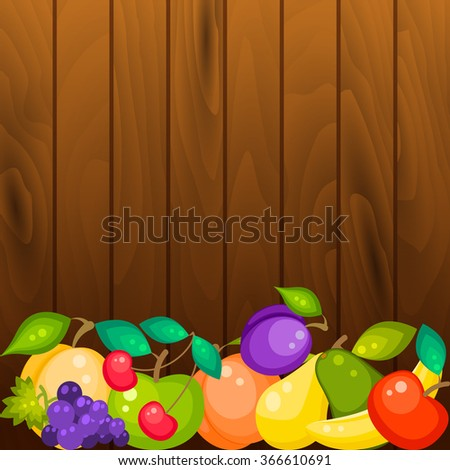 Fruit banner on wood background. Fruits in row with copy space for text. - stock vector