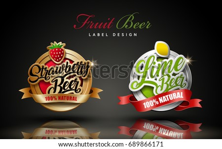 Fruit beer label design, two beer label design elements, one in bronze and the other in silver color, 3d illustration