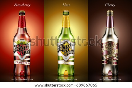 Fruit beer package design, business label for different flavours in 3d illustration