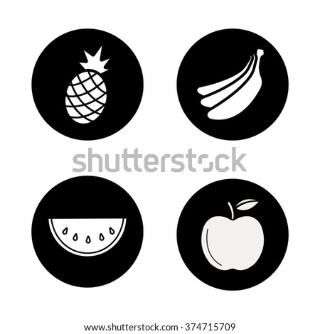 Fruit black icons set. Fresh pineapple and banana bunch. Sliced watermelon with seeds and ripe apple. Exotic and garden sweet fruits. White silhouettes illustrations. Vector logo concepts - stock vector