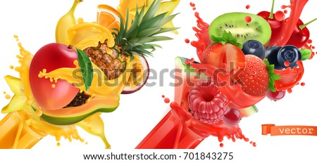 Fruit burst. Splash of juice. Sweet tropical fruits and mixed berries. Mango, banana, pineapple, papaya, strawberry, raspberry, blueberry, watermelon. 3d realistic vector icon set.