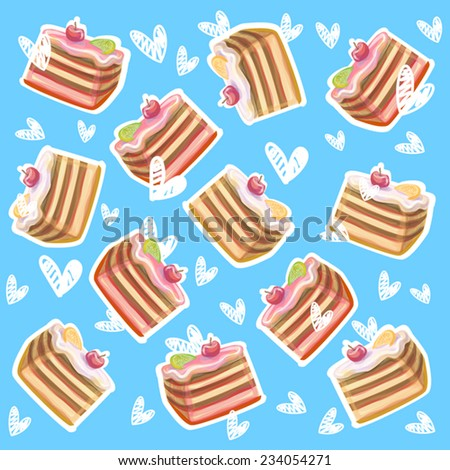 Fruit cakes and white hearts on blue background. Hearts fall. Sweet. Vector illustration. Eps 10. As design element, print, for craft paper decoration. - stock vector
