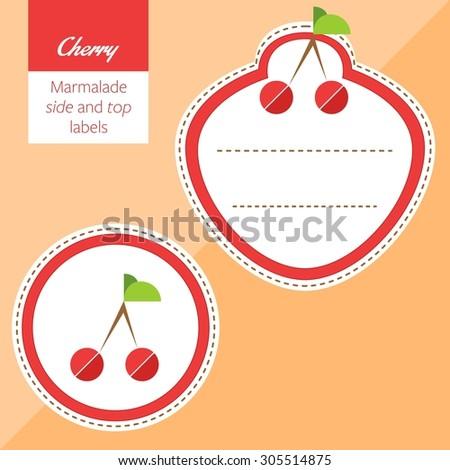 Fruit, cherry label graphic - stock vector