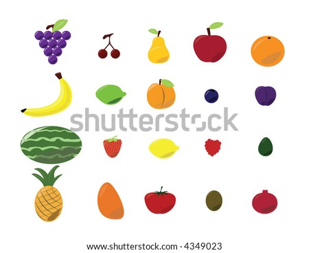 Fruit collection - stock vector