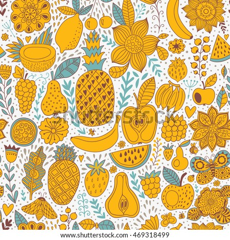 Fruit doodles seamless vector pattern. Hand drawn summer backdrop.