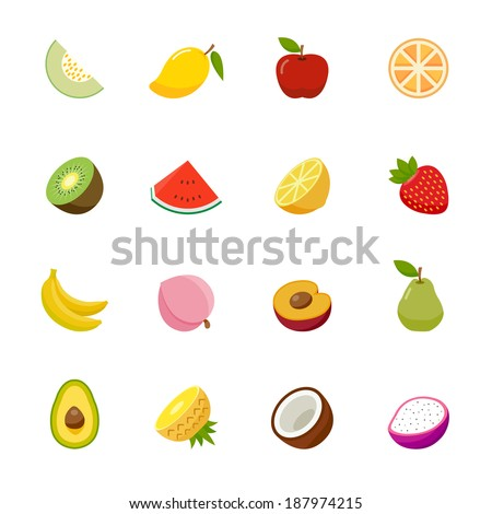Fruit full color flat design icon. Vector illustration - stock vector