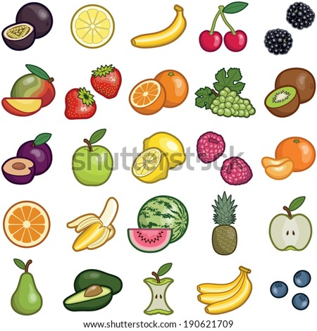 Fruit icon collection - vector color illustration  - stock vector