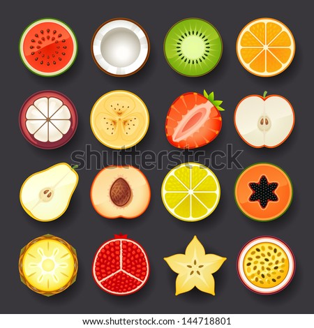 fruit icon set - stock vector
