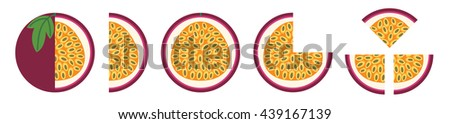 Fruit icon set. illustration whole and sliced passion fruit. flat style. Vector icons. - stock vector