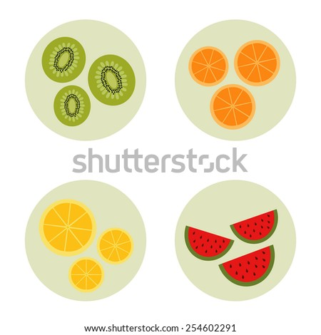 Fruit icon set vector  - stock vector