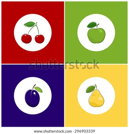 Fruit Icons, Round White Fruit Icons on Colorful Background, Cherry Icon, Plum Icon , Pears Icon, Apple Icon, Vector Illustration - stock vector