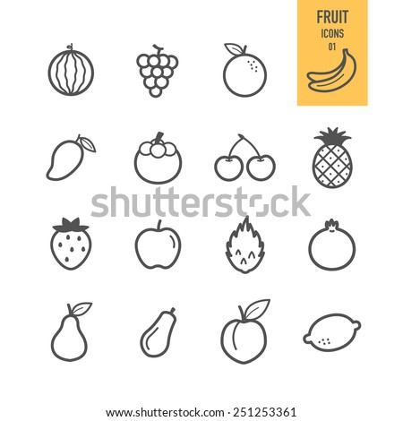 Fruit icons. Vector illustration. - stock vector