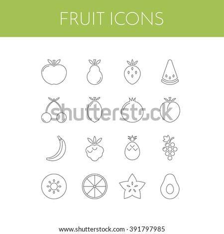 Fruit icons. Vector set of simple linear icons. EPS 8. - stock vector